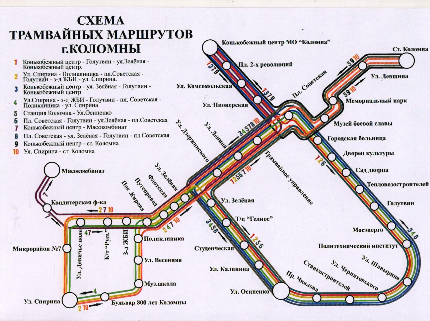 Трамвайная схема г.коломна