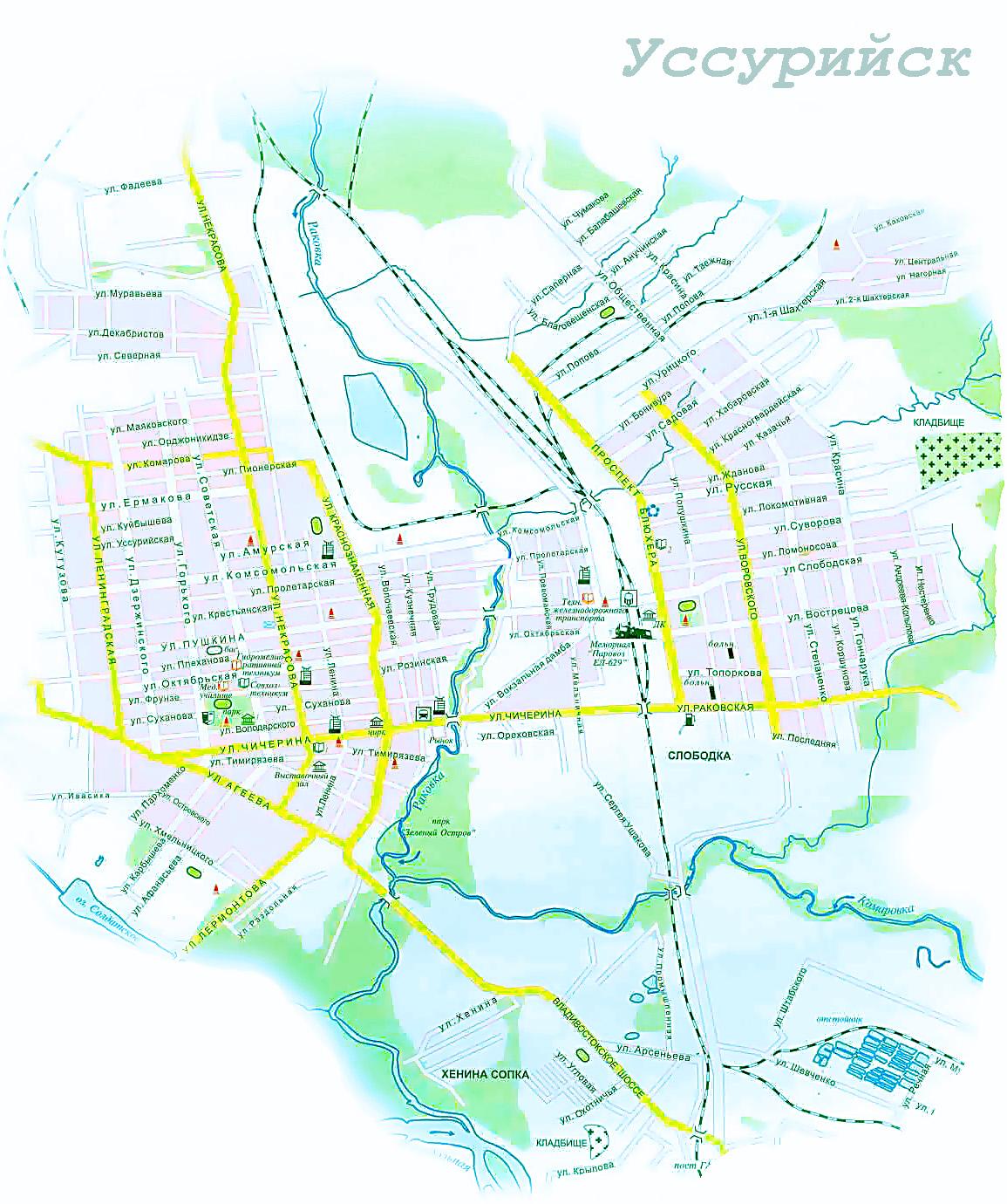 Уссурийск схема города