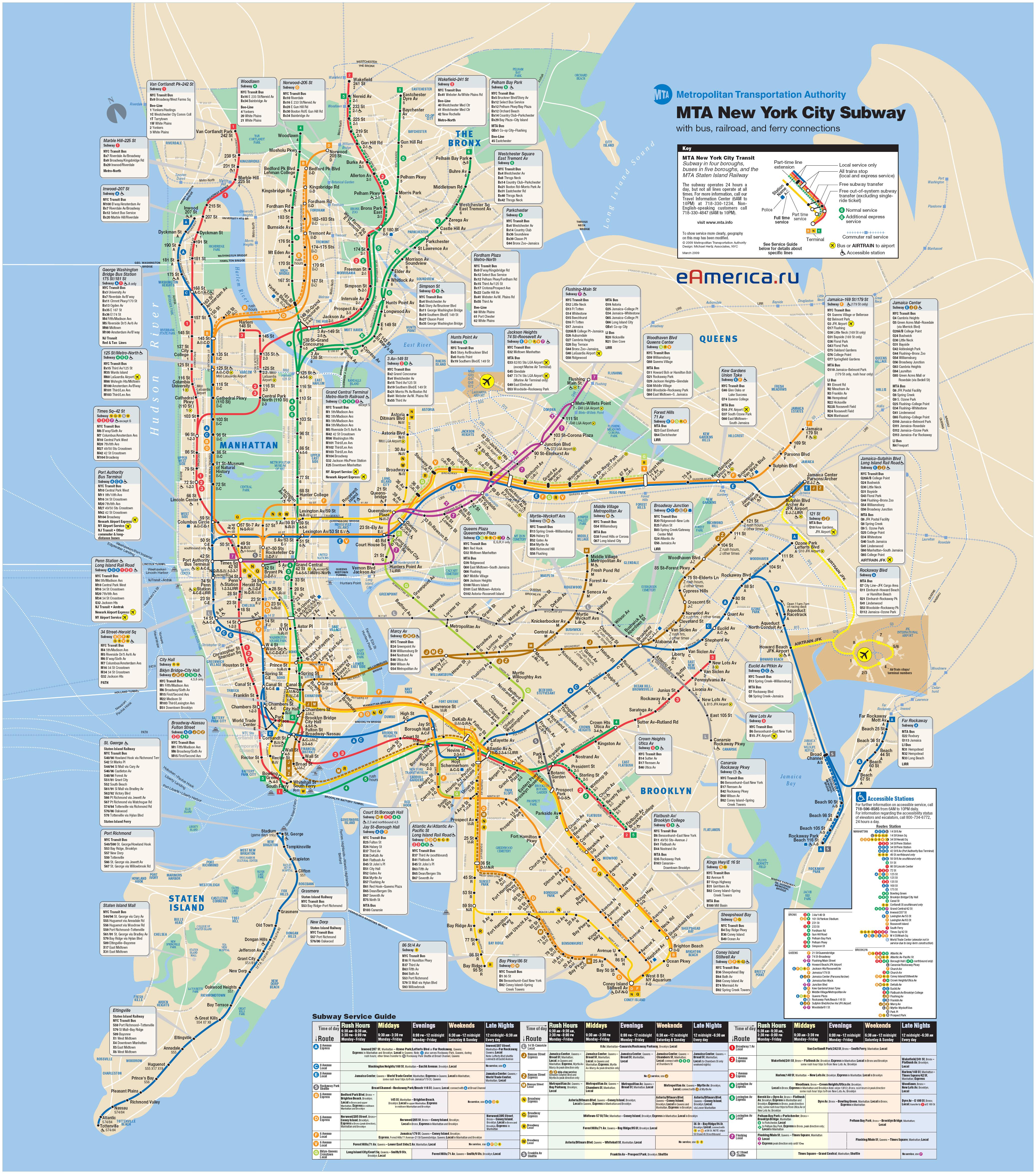 Нью-йорк схема метро от до