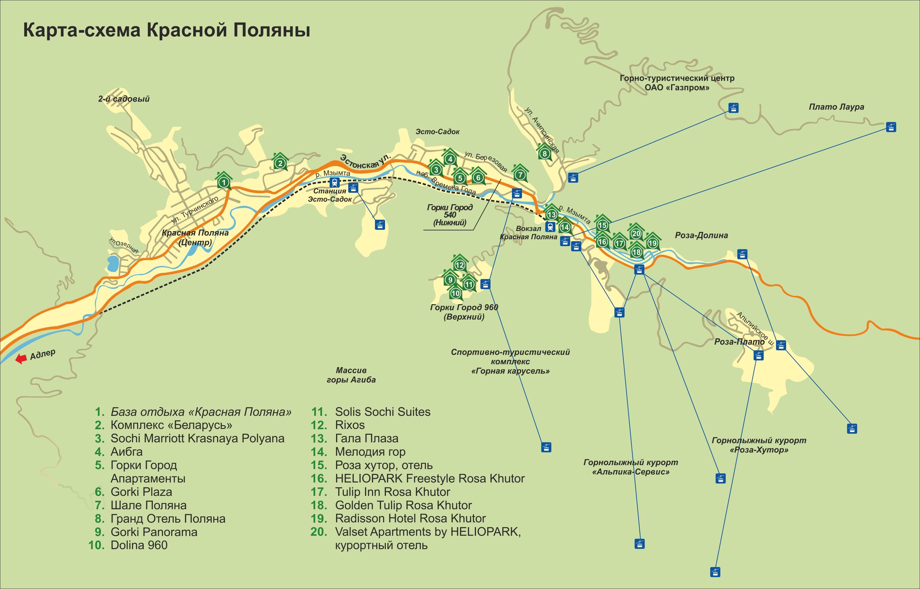 схема экскурсионного маршрута обзорная по сочи
