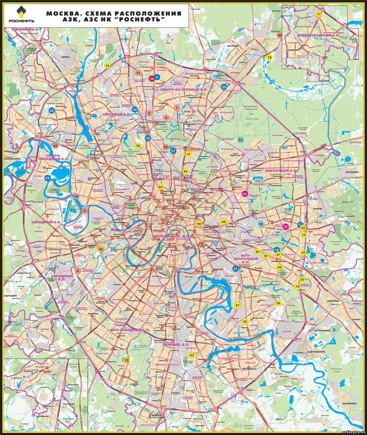 Карта москвы и подмосковья с метро