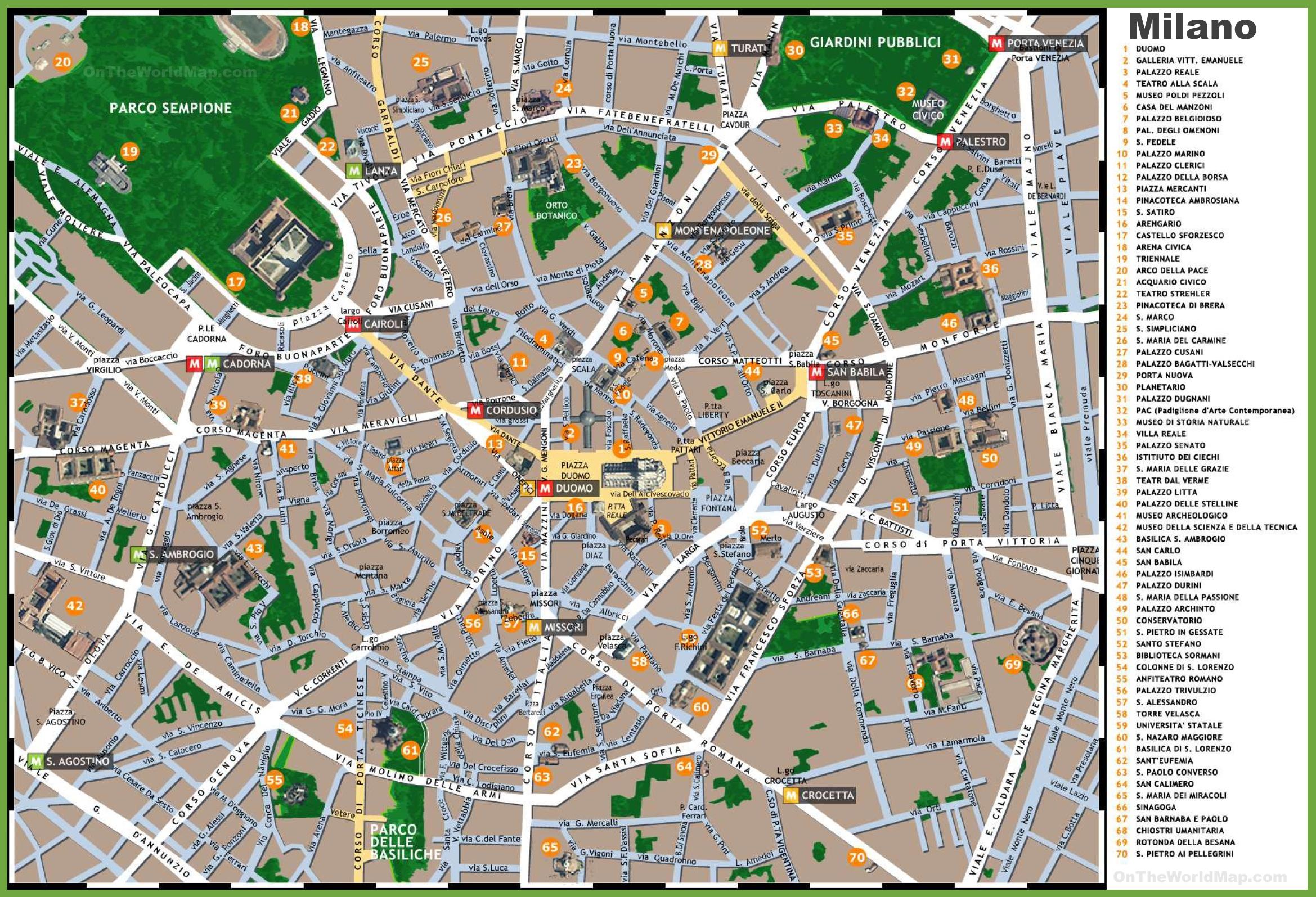 Podrobnye Karty Milana Detalnye Pechatnye Karty Milana Vysokogo