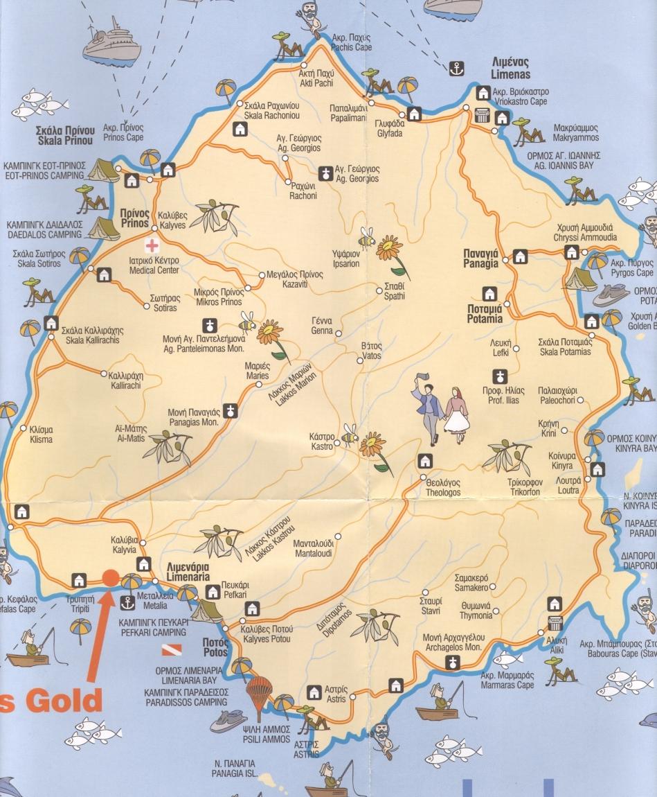 Karta Tasosa S Dostoprimechatelnostyami Na Russkom Yazyke Karta